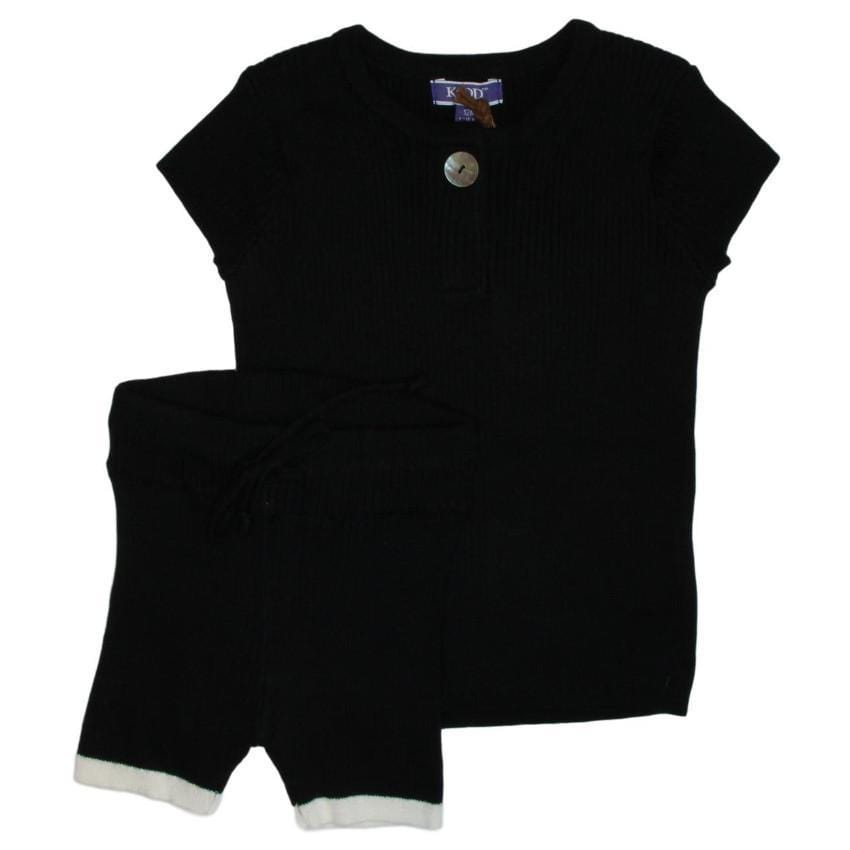 Kipp Black Ribbed Knit Shorts  JellyBeanz Kids