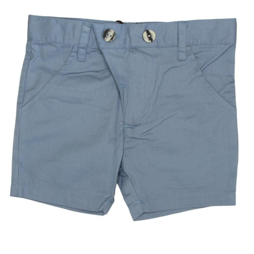 Kipp Slate Blue Polished Cotton Shorts  JellyBeanz Kids