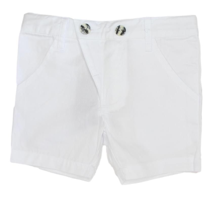 Kipp White Polished Cotton Shorts  JellyBeanz Kids