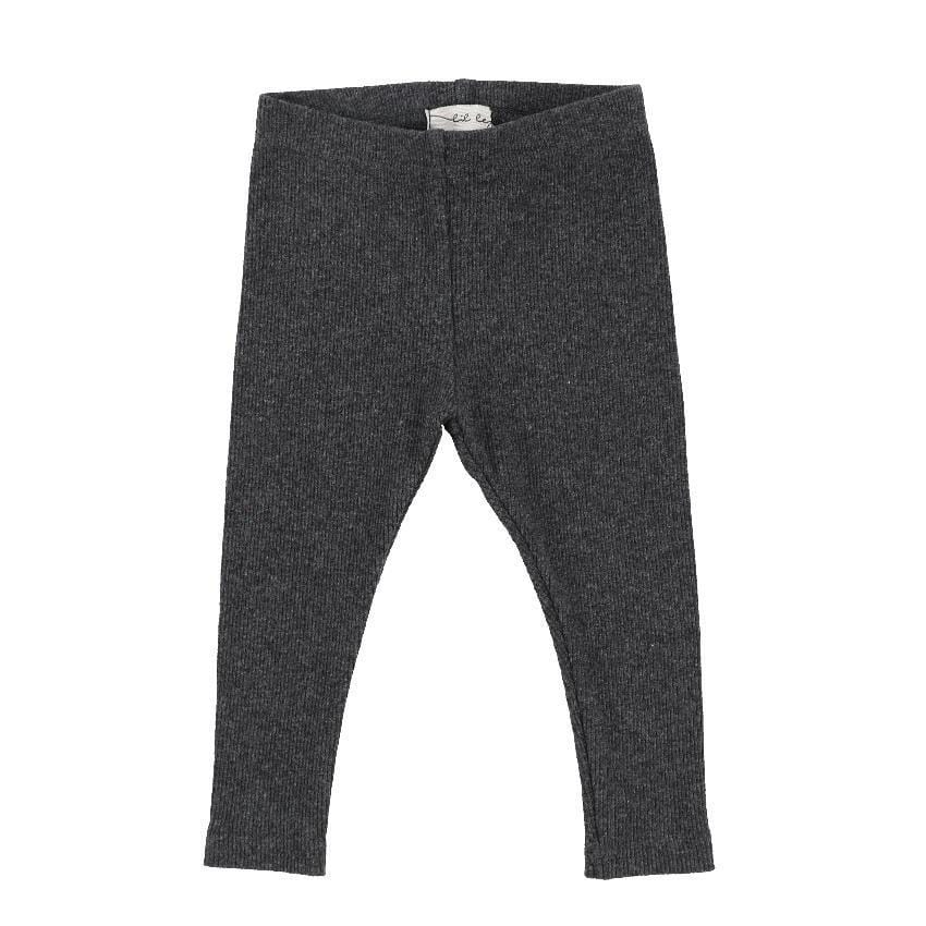 Lil Legs Lil Legs Dark Heather Gray Ribbed Leggings  JellyBeanz Kids