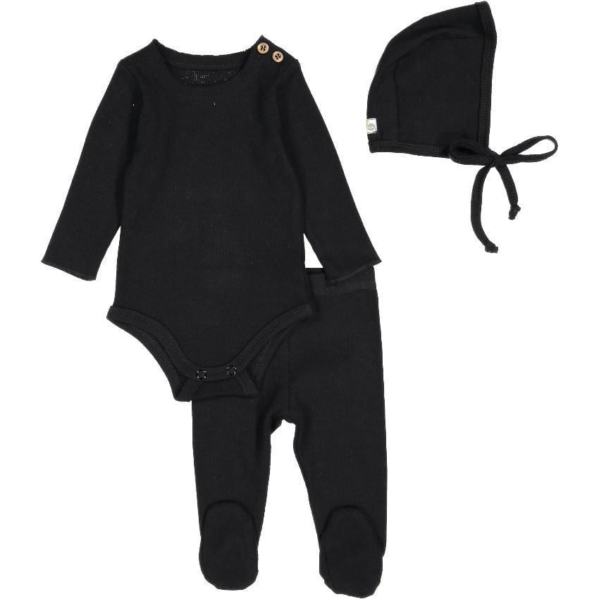 Lil Legs Lil Legs Black Ribbed Set  JellyBeanz Kids