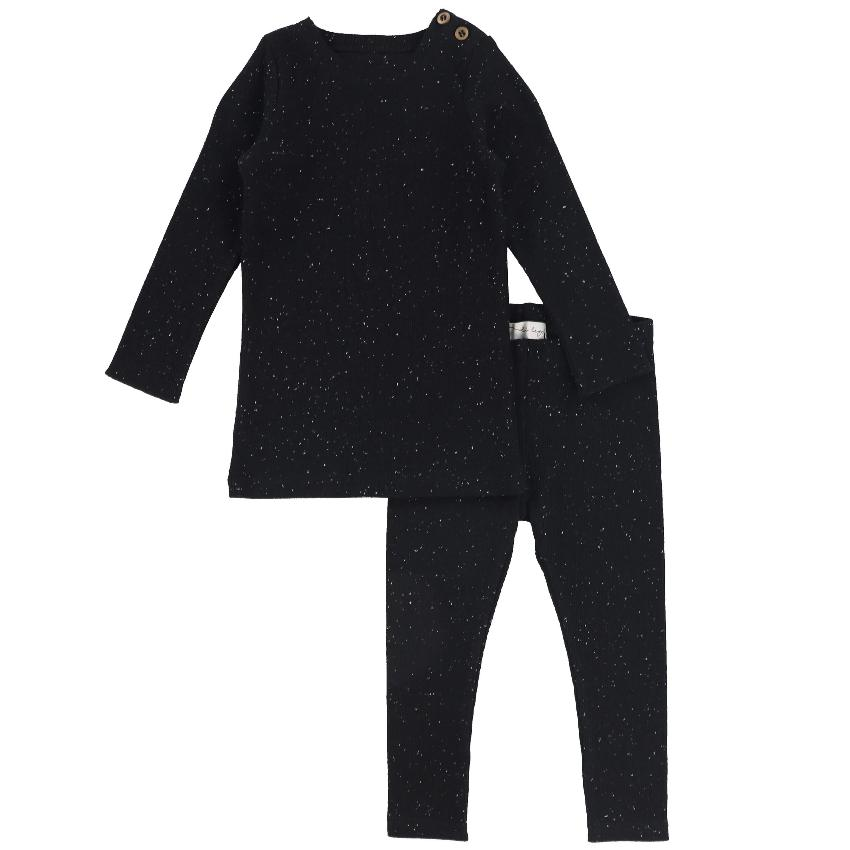 Lil Legs Set Jellybeanzkids Lil Legs Black Speckle Ribbed Set