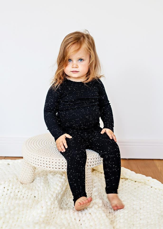 Lil Legs Lil Legs Black Speckle Ribbed Set  JellyBeanz Kids