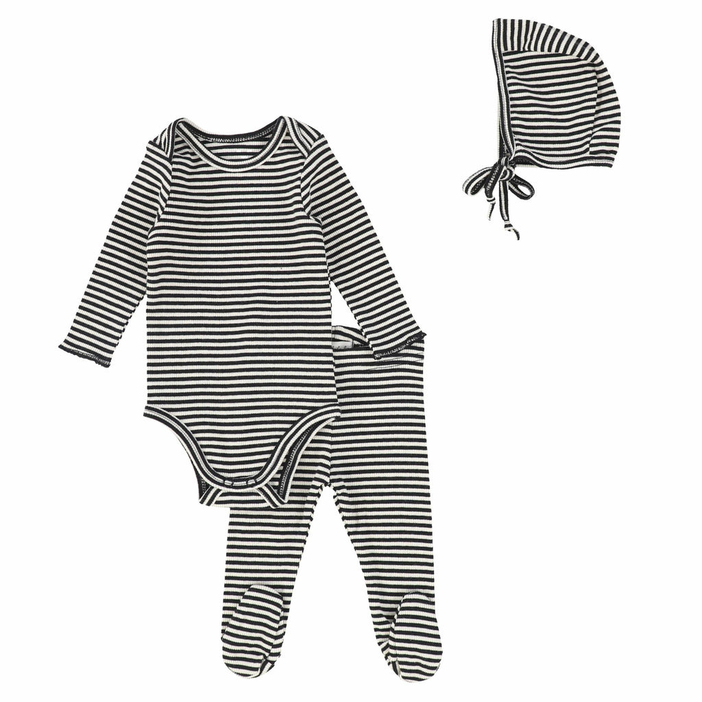 Lil Legs Blackberry Ribbed Striped Baby Set