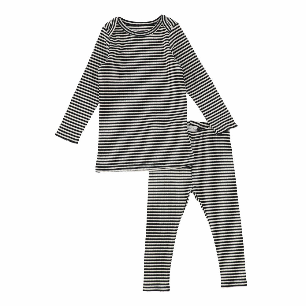 Lil Legs Blackberry Ribbed Striped Set