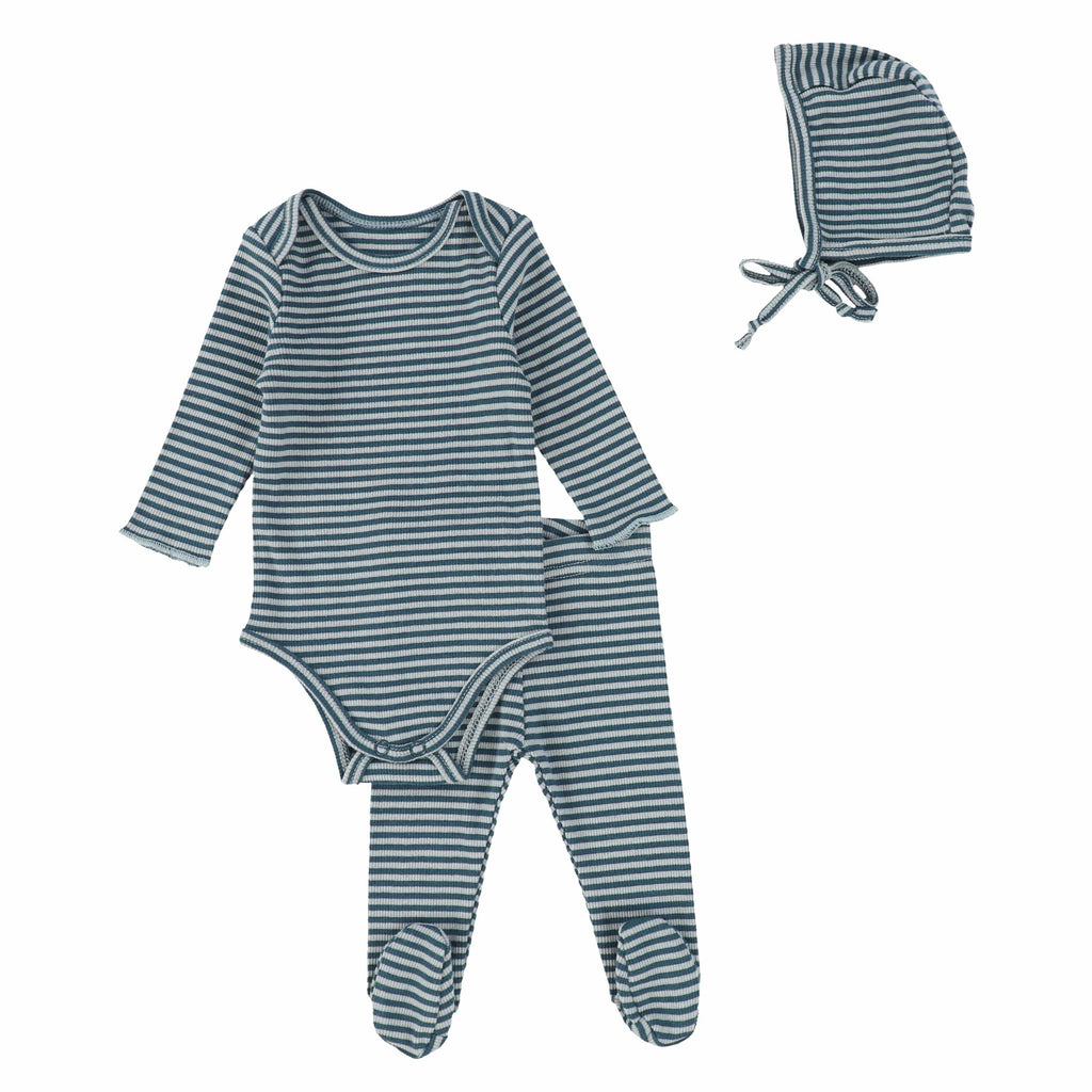 Lil Legs Blueberry Ribbed Striped Baby Set