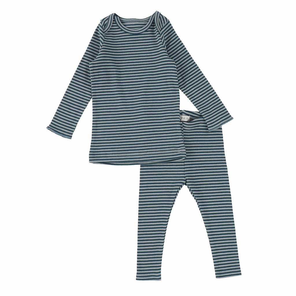 Lil Legs Blueberry Ribbed Striped Set