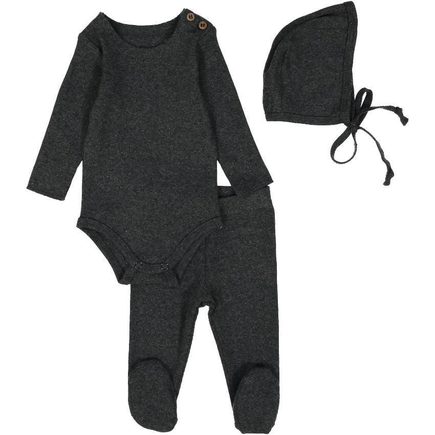 Lil Legs Lil Legs Dark Heather Ribbed Set  JellyBeanz Kids