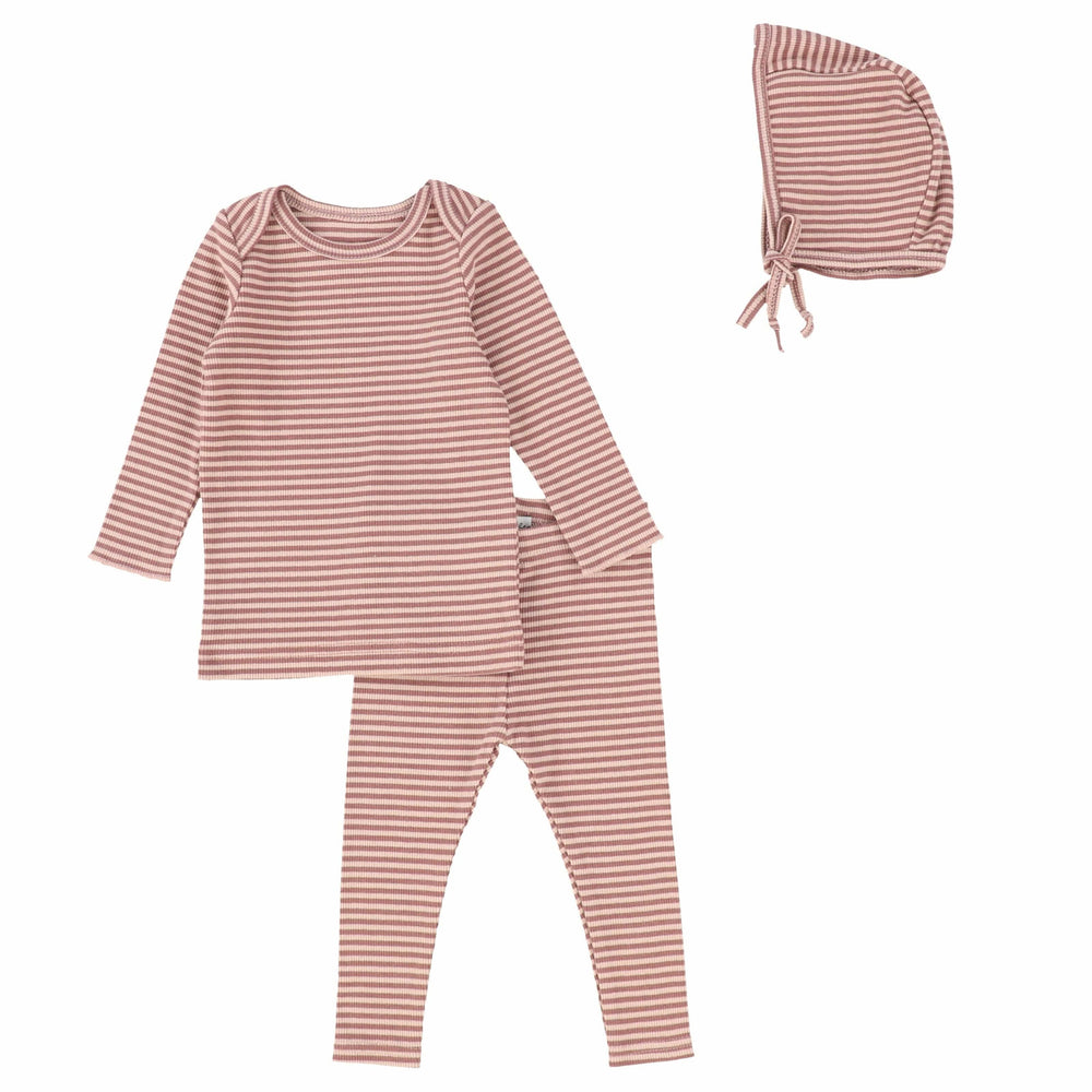 Lil Legs Mulberry Ribbed Striped Baby Set