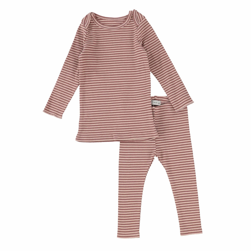 Lil Legs Mulberry Ribbed Striped Set
