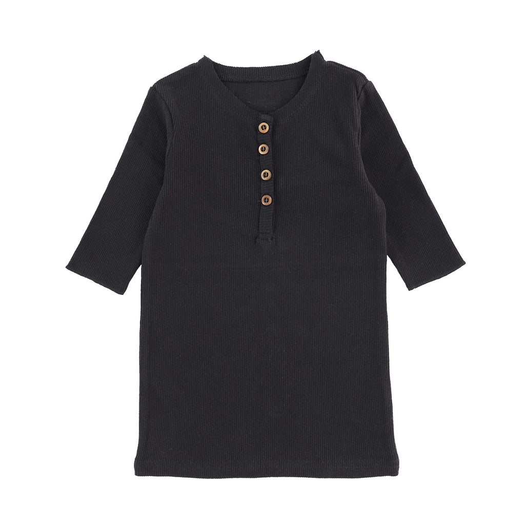 Lil Legs Black 3/4 Sleeve Center Button Tee - JellyBeanz Kids