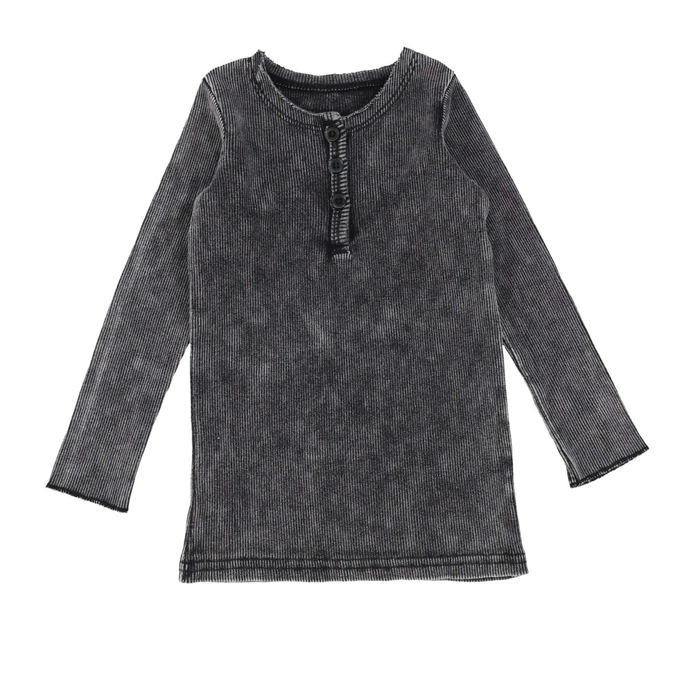Lil Legs Black Wash Center Button Long Sleeve Tee