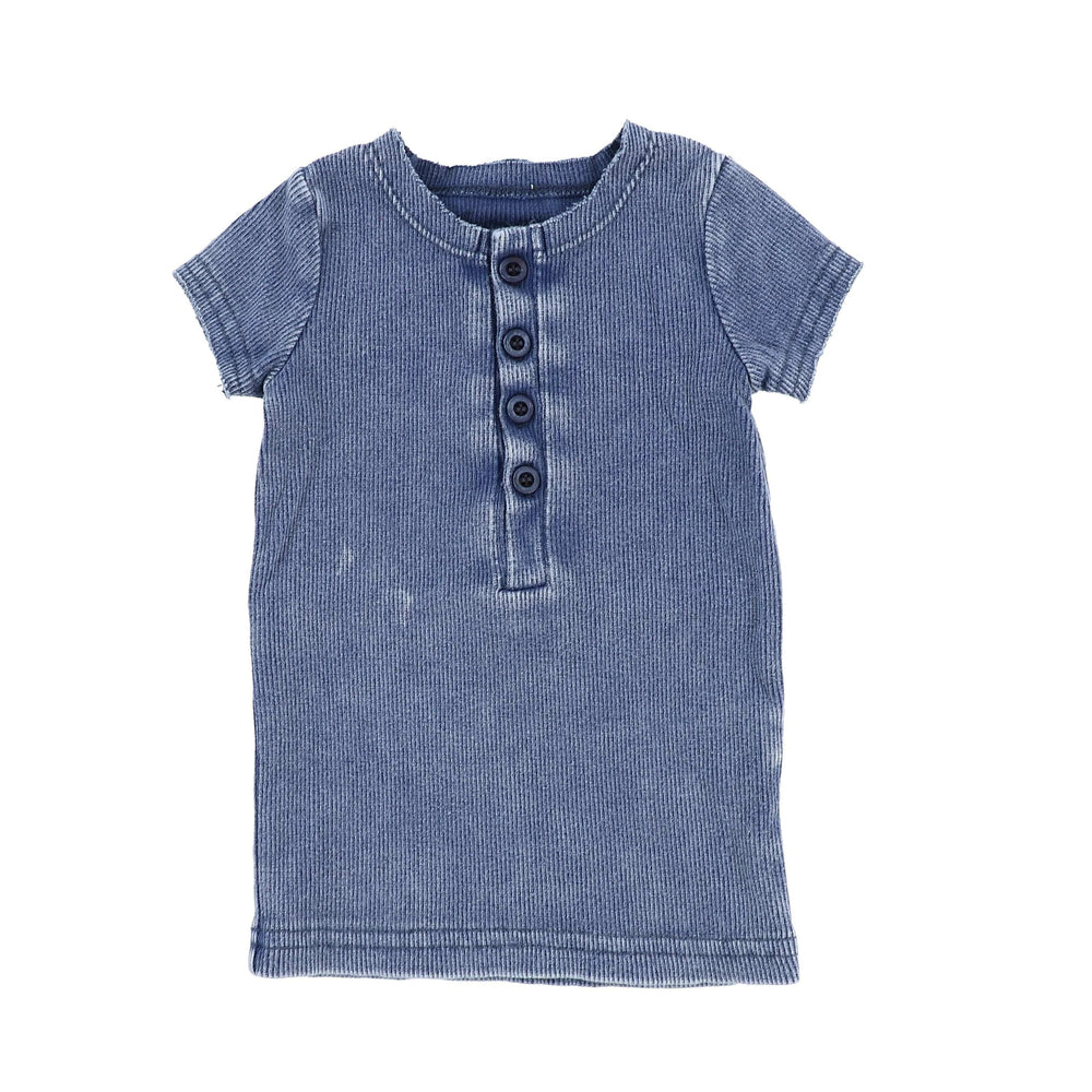 Lil Legs Lil Legs Blue Wash Short Sleeve Center Button Ribbed Tee  JellyBeanz Kids