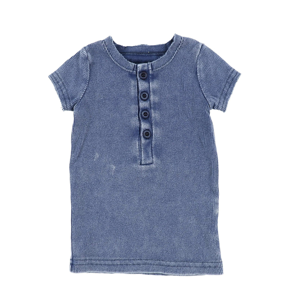 Lil Legs Blue Wash Short Sleeve Center Button Ribbed Tee - JellyBeanz Kids