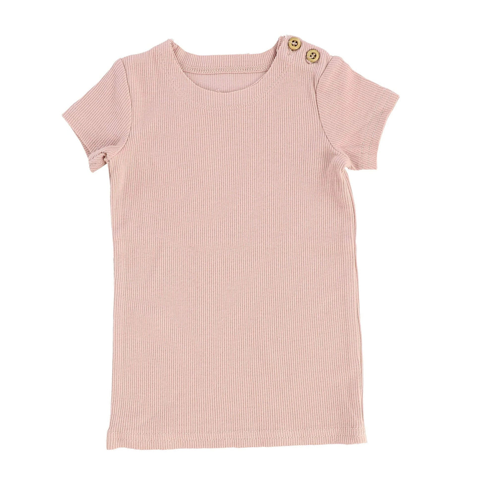 Lil Legs Blush Ribbed Short Sleeve Tee - JellyBeanz Kids