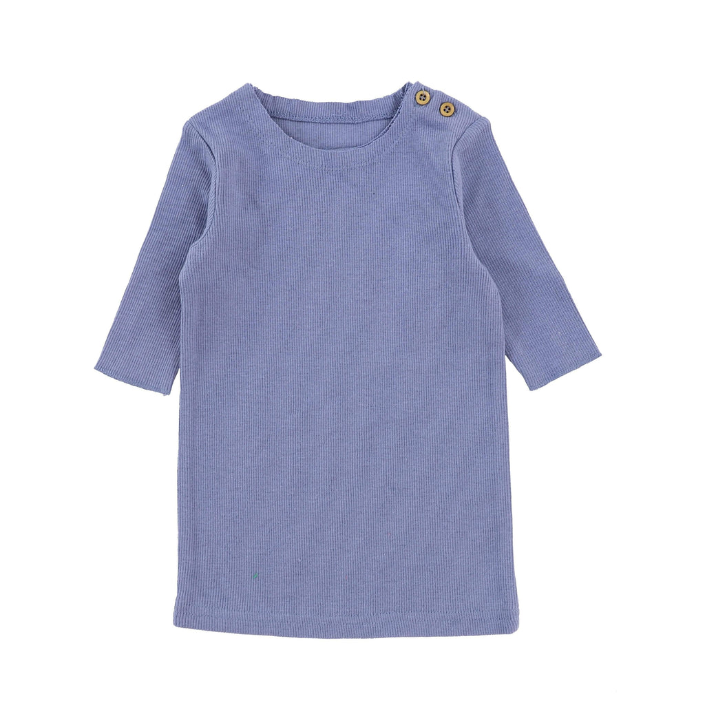 Lil Legs Deep Blue Ribbed 3/4 Sleeve Tee - JellyBeanz Kids