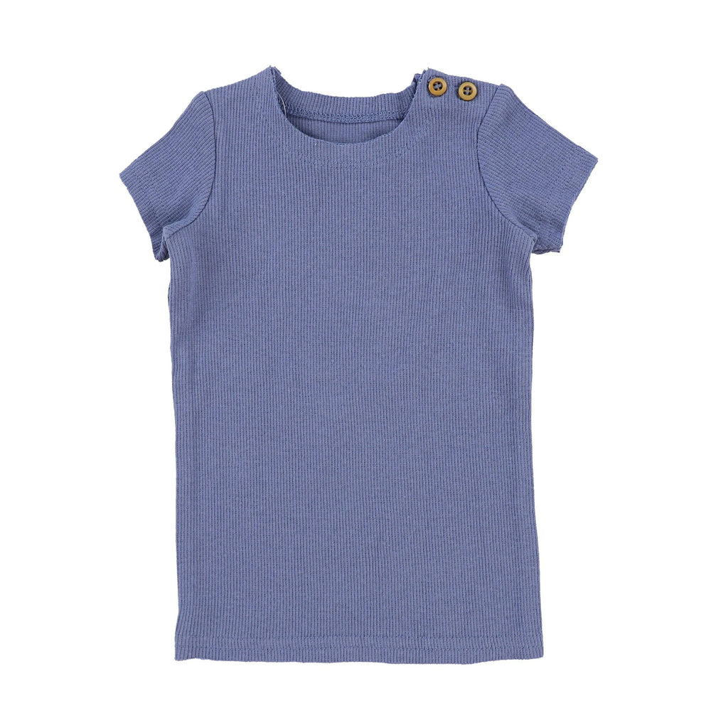 Lil Legs Deep Blue Ribbed Short Sleeve Tee - JellyBeanz Kids