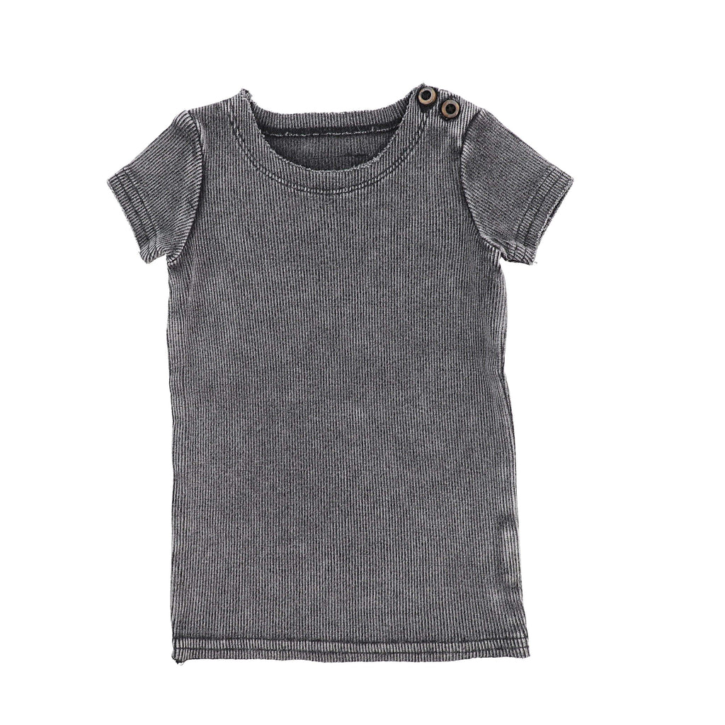 Lil Legs Lil Legs Grey Wash Ribbed Short Sleeve Tee  JellyBeanz Kids