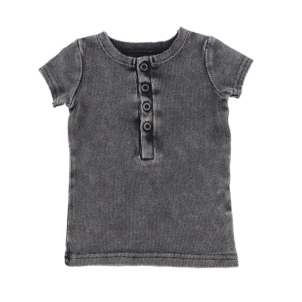 Lil Legs Grey Wash Short Sleeve Center Button Ribbed Tee - JellyBeanz Kids