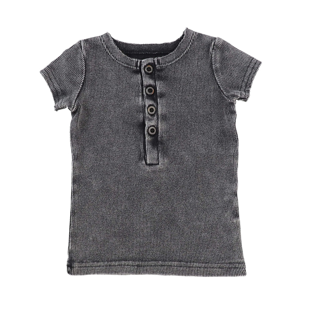 Lil Legs Lil Legs Grey Wash Short Sleeve Center Button Ribbed Tee  JellyBeanz Kids
