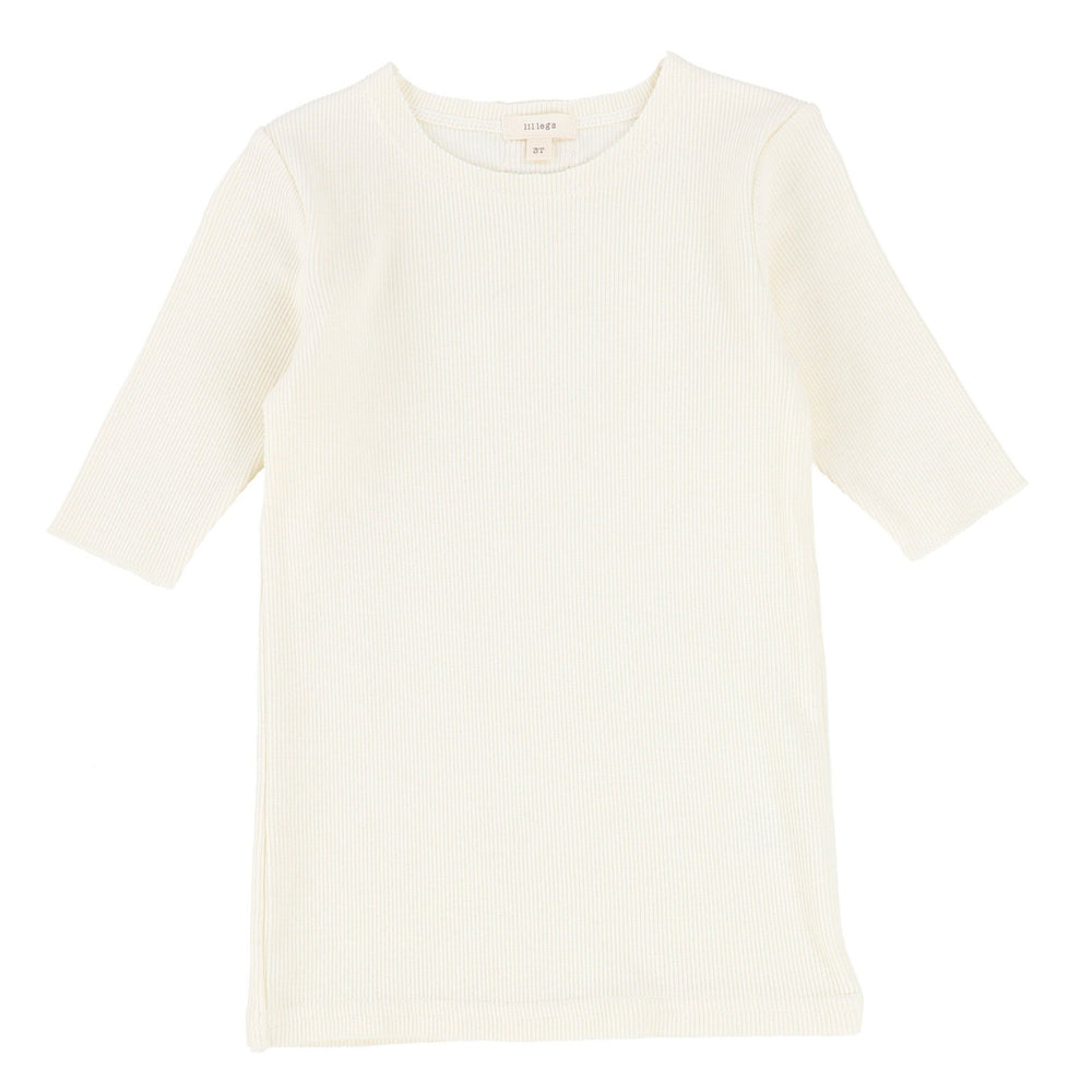 Lil Legs T-shirt Jellybeanzkids Lil Legs Ivory Ribbed 3/4 Sleeve Tee
