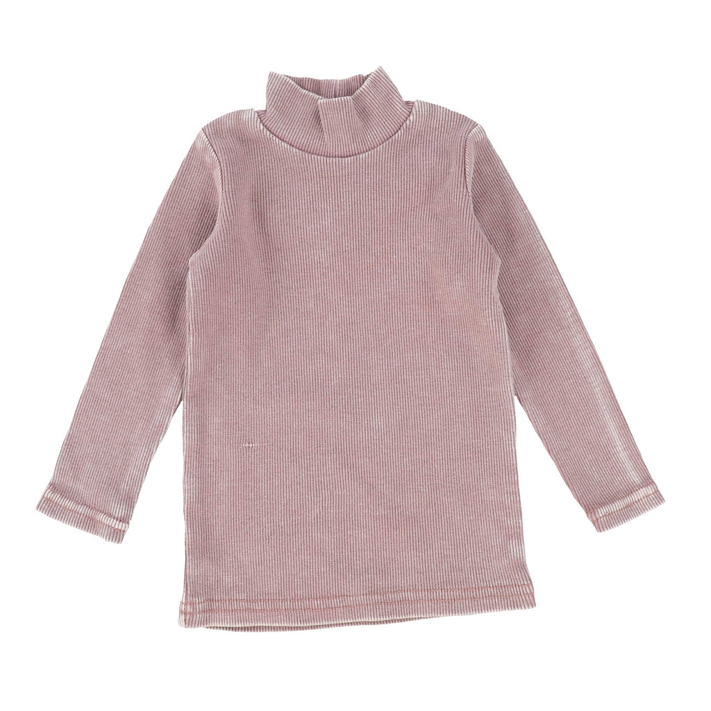 Lil Legs Pink Wash Ribbed Turtleneck