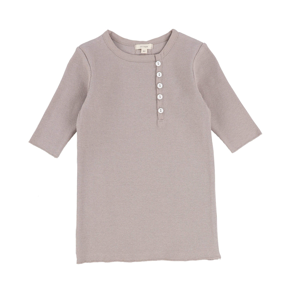 Lil Legs T-shirt Jellybeanzkids Lil Legs Taupe Sideway 3/4 Sleeve Ribbed Tee