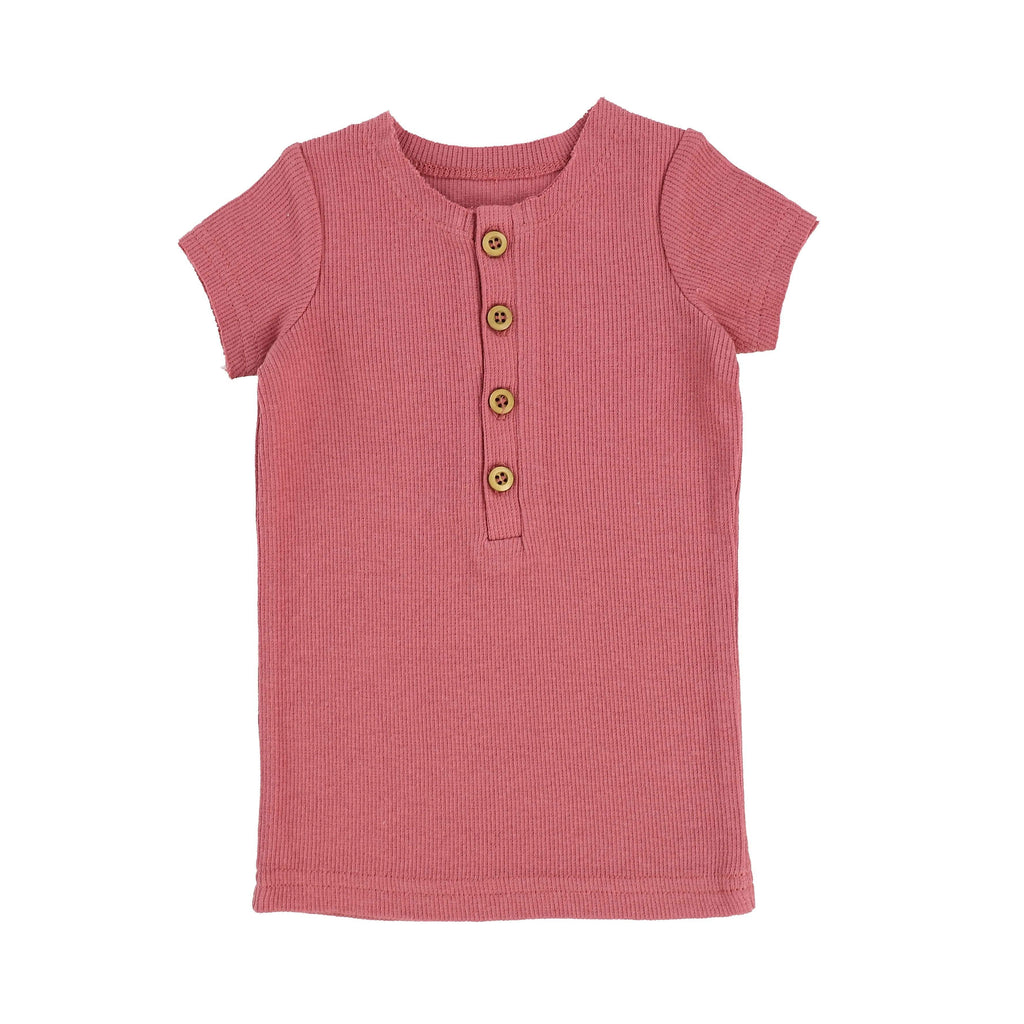 Lil Legs Lil Legs Watermelon Pink Short Sleeve Center Button Ribbed Tee  JellyBeanz Kids