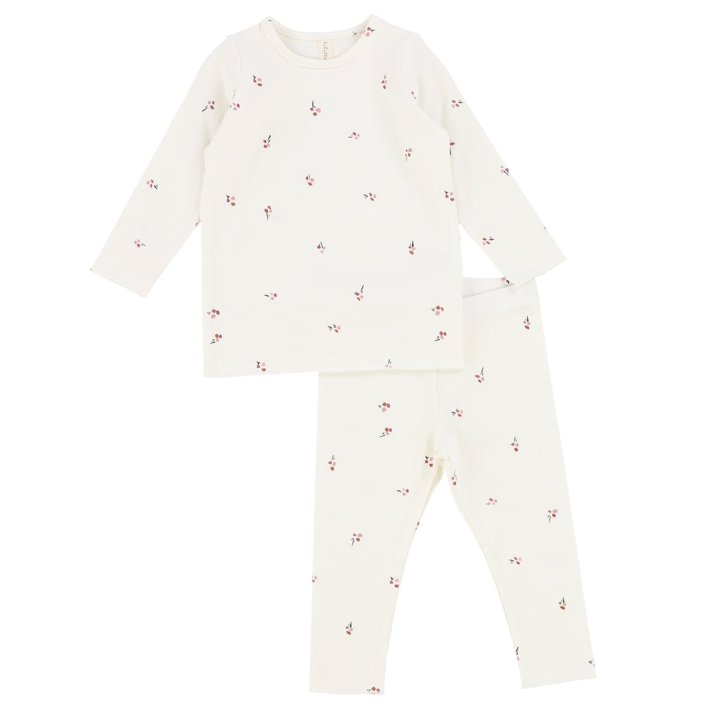 Lilette by Lil Legs Pajamas Jellybeanzkids Lilette Ivory/Mauve Poppy Long Sleeve Lounge Set