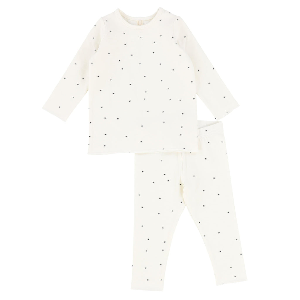 Lilette by Lil Legs Pajamas Jellybeanzkids Lilette Steel Star Long Sleeve Lounge Set