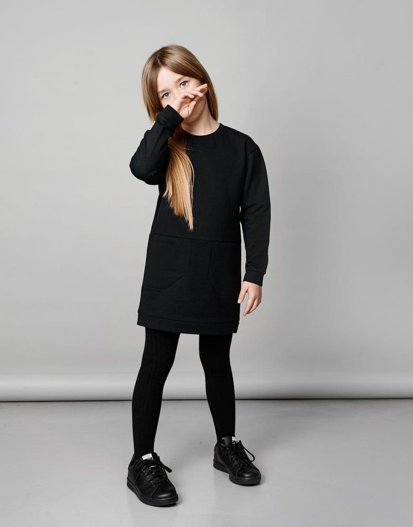 Mainio Mainio Black Pocket Sweat Dress  JellyBeanz Kids