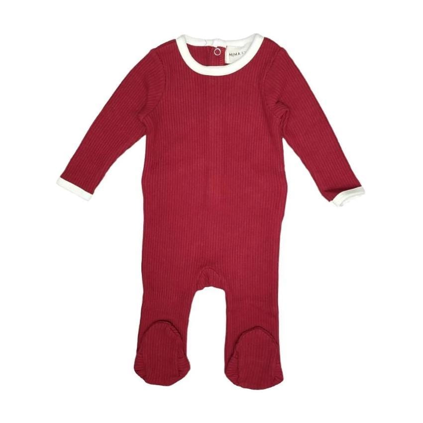 Mema Knits Mema Brick Red Ribbed Footie  JellyBeanz Kids