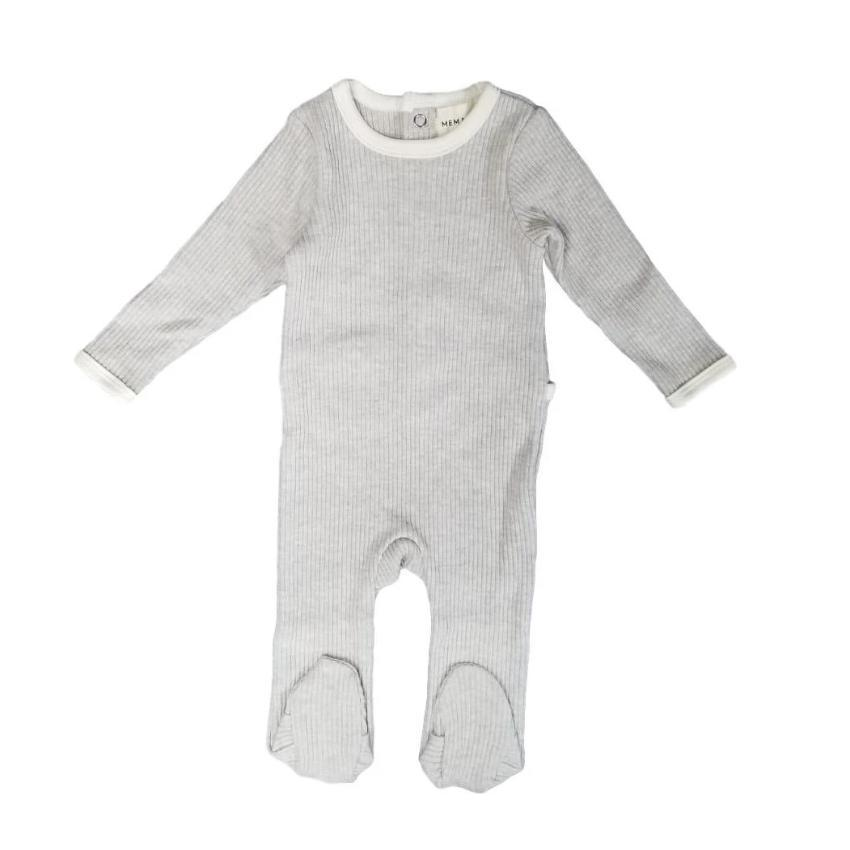 Mema Knits Mema Light Grey Ribbed Footie  JellyBeanz Kids