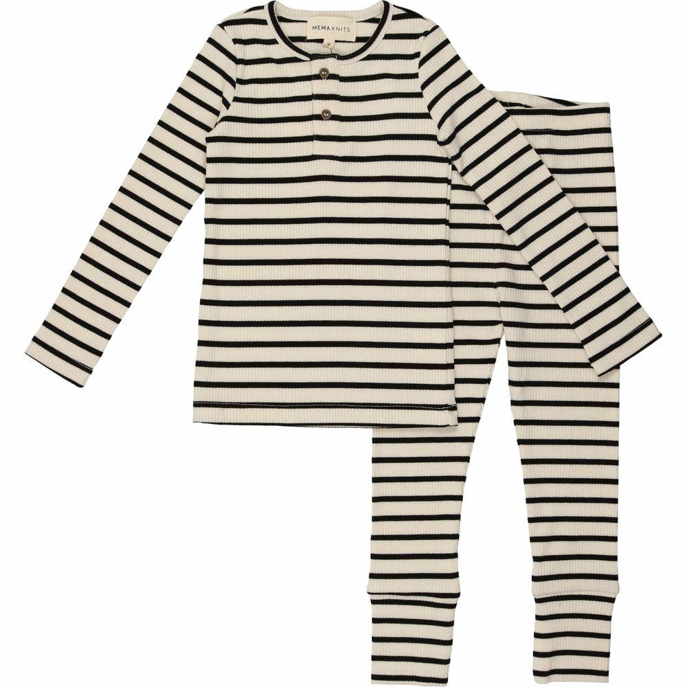 Mema Knits Pajamas Jellybeanzkids Mema Knits Black Striped Henley Pajamas