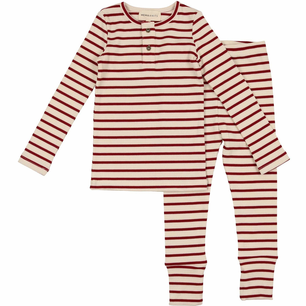 Mema Knits Pajamas Jellybeanzkids Mema Knits Red Striped Henley Pajamas