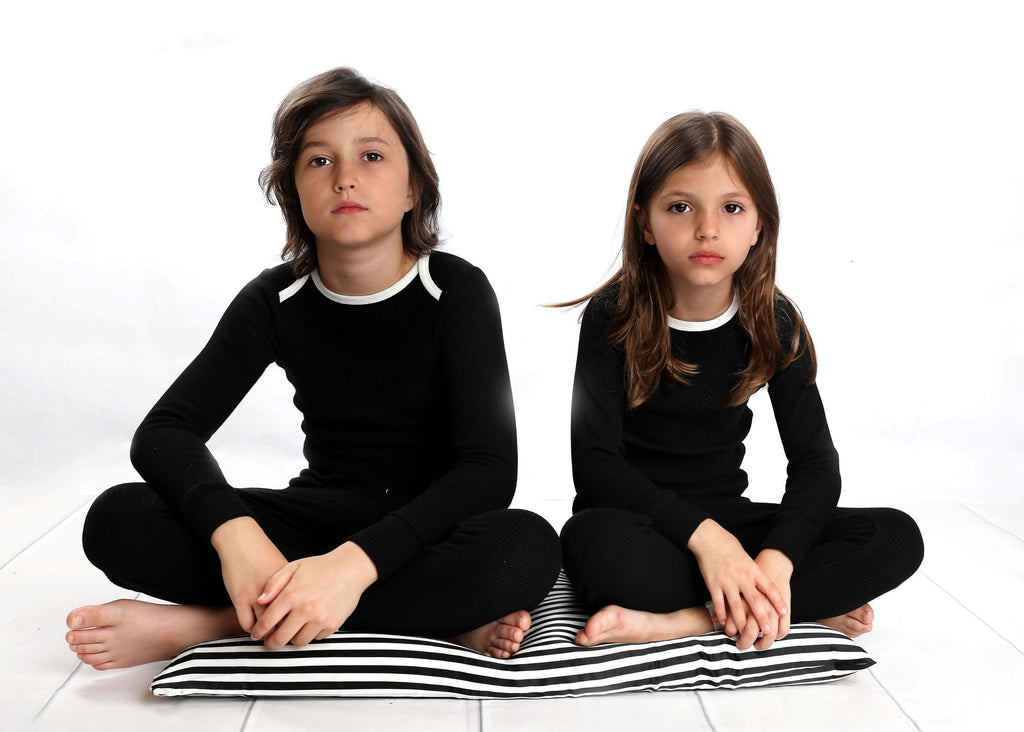 Mema Knits Mema Black Ribbed Pajamas  JellyBeanz Kids