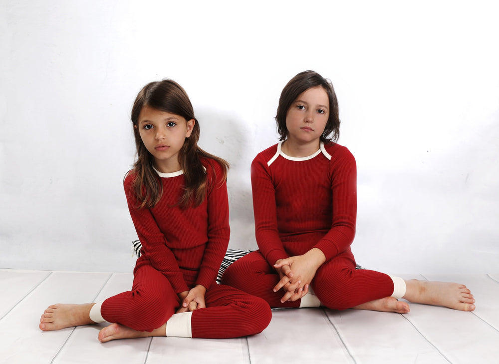 Mema Knits Mema Brick Red Ribbed Pajamas  JellyBeanz Kids