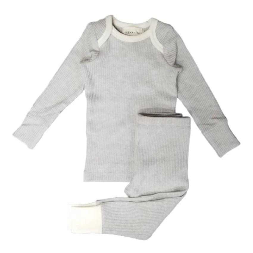 Mema Knits Mema Light Grey Ribbed Pajamas  JellyBeanz Kids