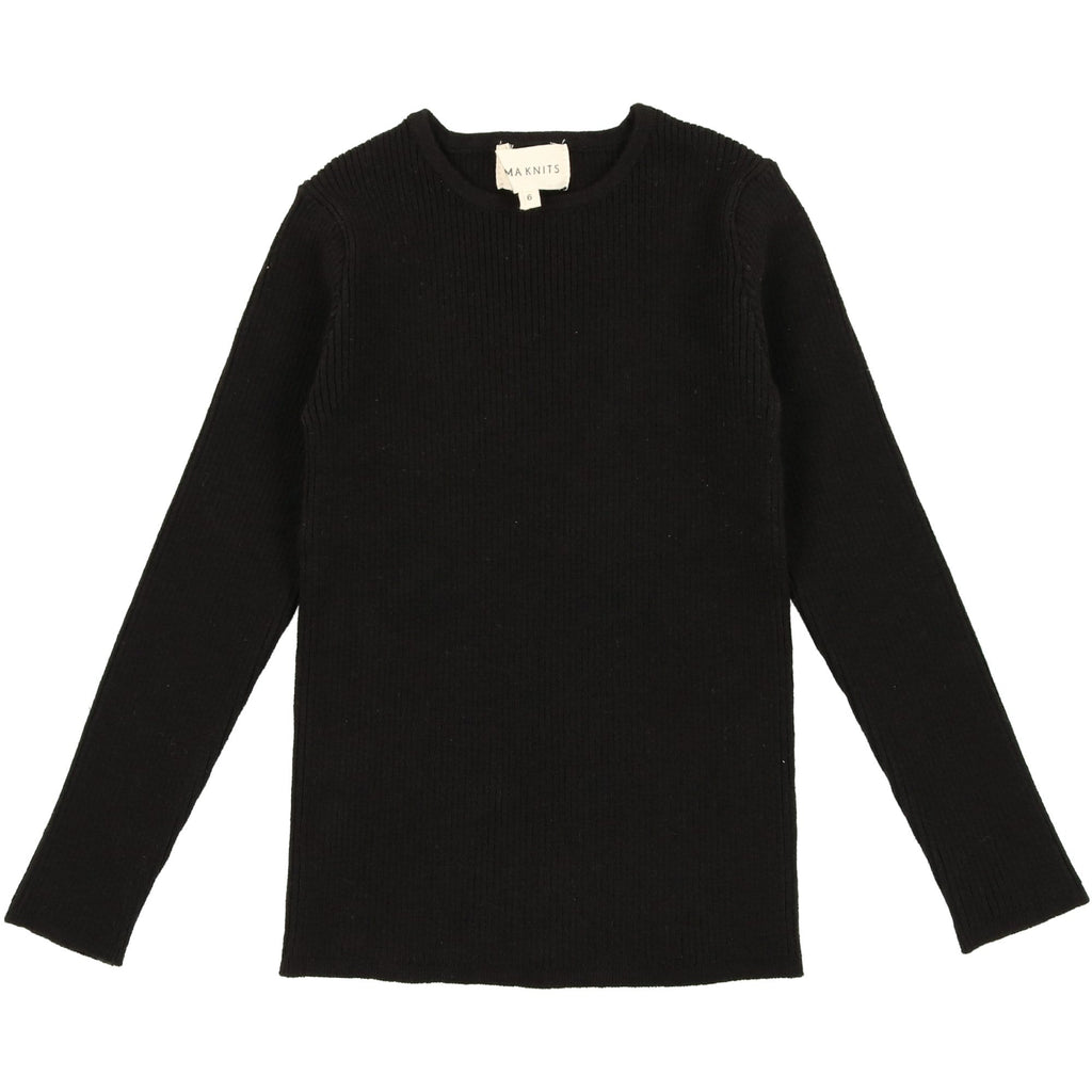 Mema Knits Sweater Jellybeanzkids Mema Black Ribbed Knit Sweater