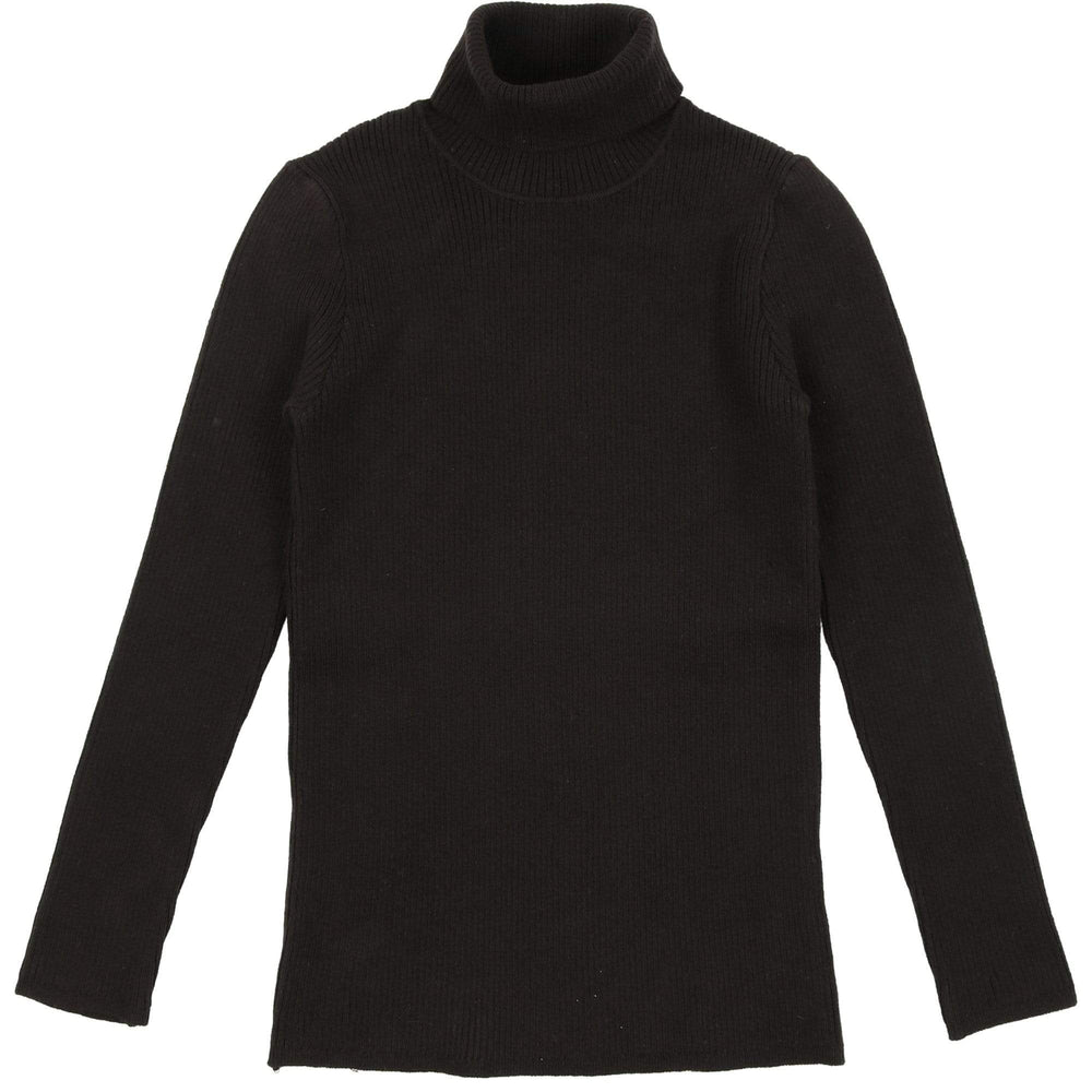 Mema Knits Sweater Jellybeanzkids Mema Black Ribbed Knit Turtleneck