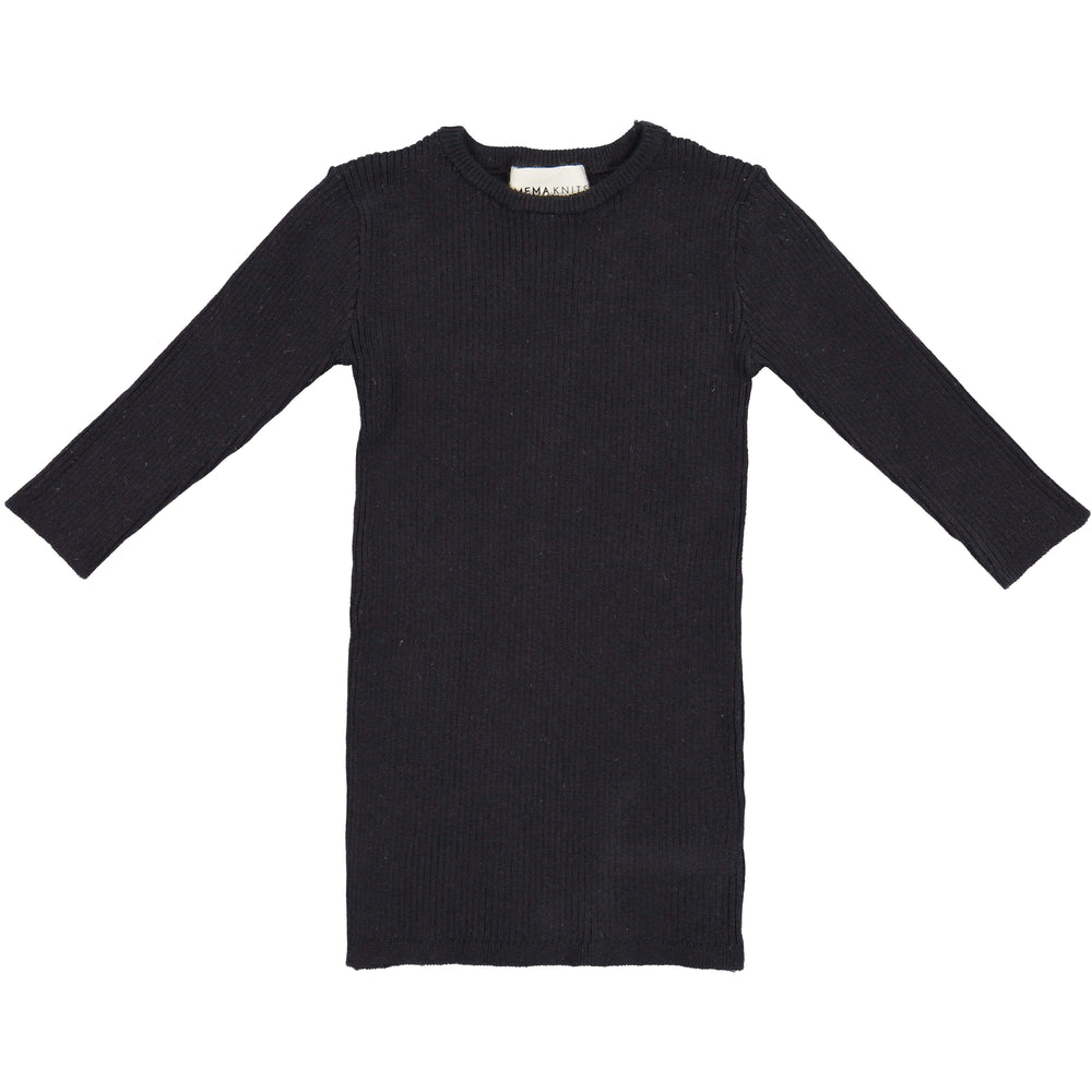 Mema Knits Mema Knits Black Ribbed 3/4 Sleeve Sweater  JellyBeanz Kids