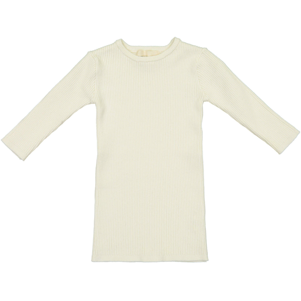 Mema Knits Mema Knits Cream Ribbed 3/4 Sleeve Sweater  JellyBeanz Kids