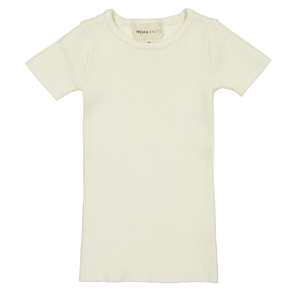 Mema Knits Mema Knits Cream Ribbed Short Sleeve Sweater  JellyBeanz Kids