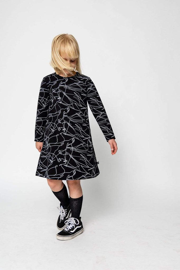 Moi Dress Jellybeanzkids Moi Black Birds Long Sleeve Dress