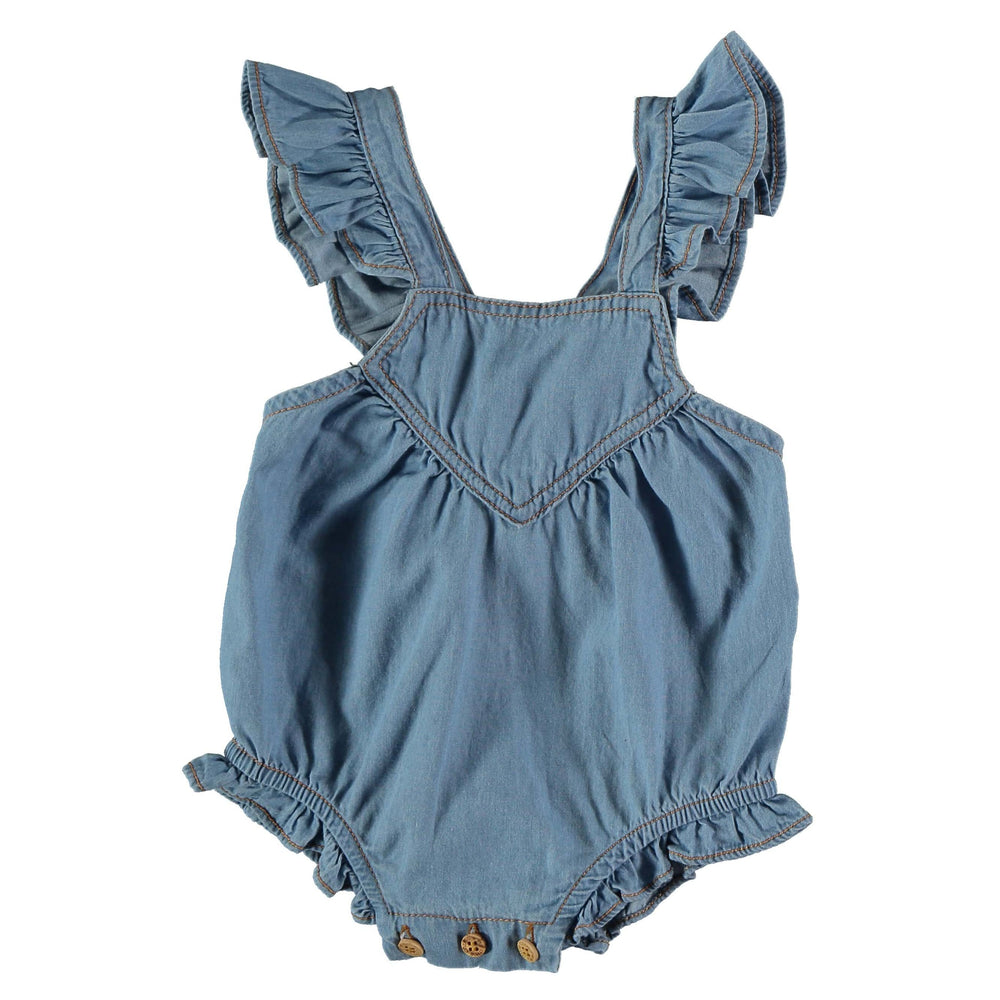 My Little Cozmo Romper Jellybeanzkids My Little Cozmo Chambray Ruffle Romper