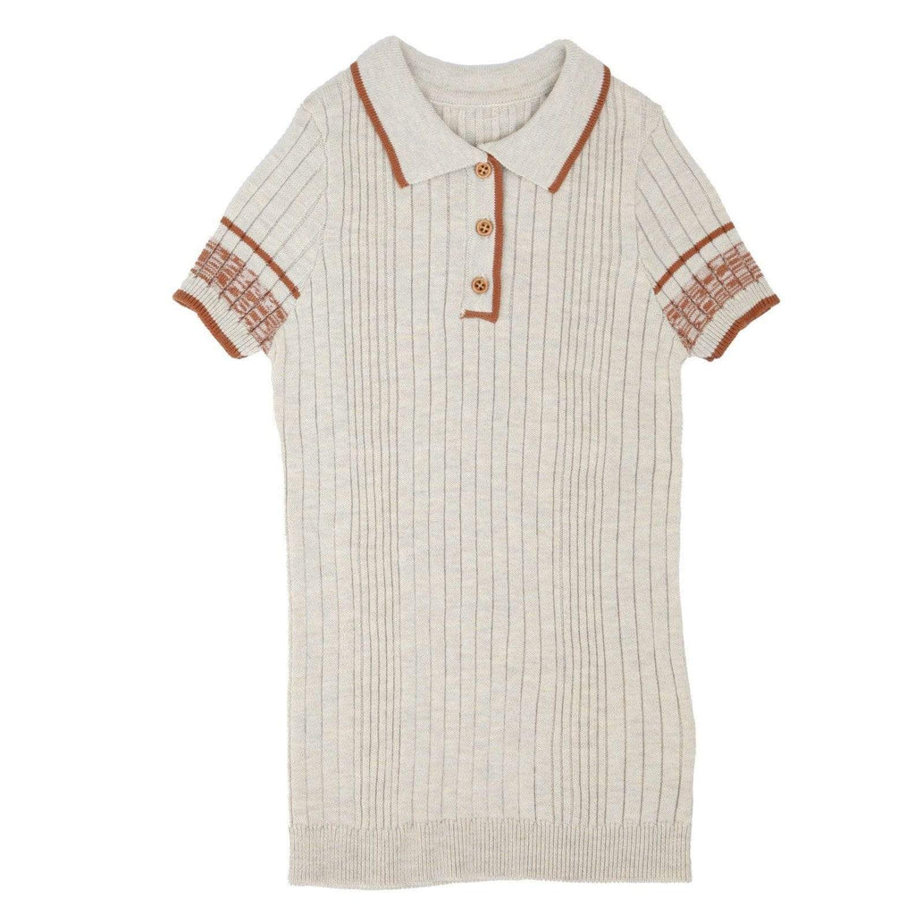 Noma Sweater Jellybeanzkids Noma Oatmeal Ribbed Polo with Terracotta Trim