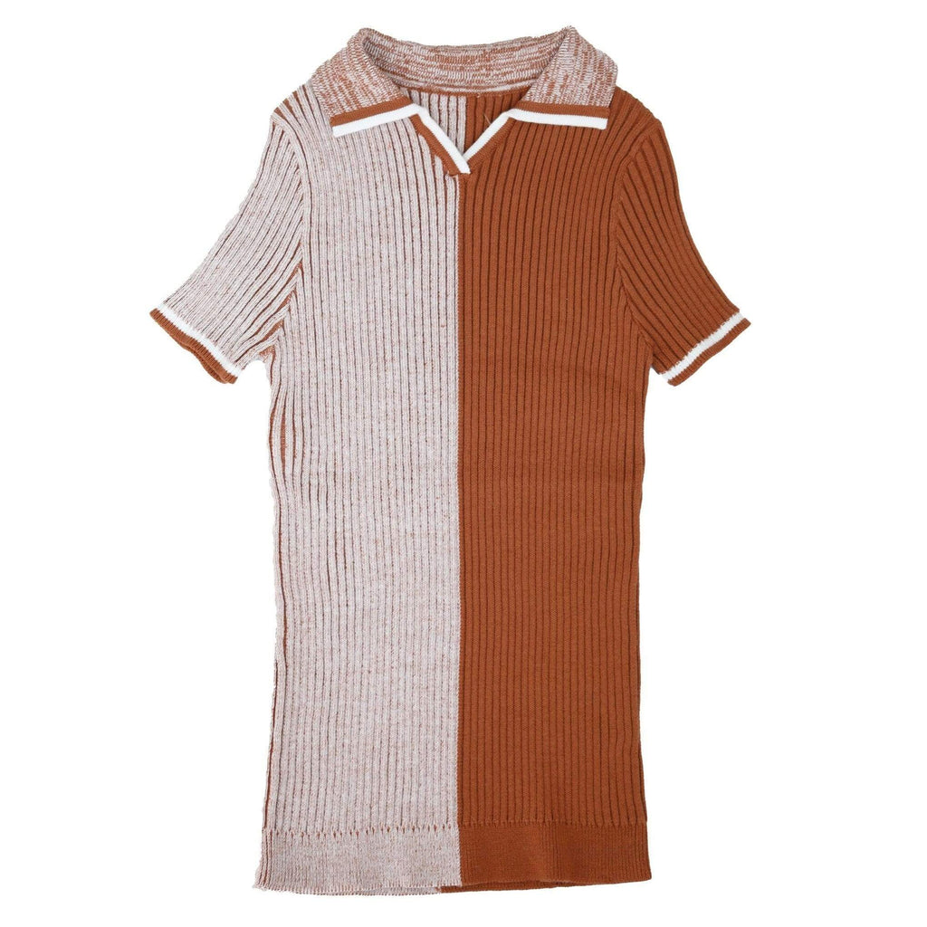 Noma Sweater Jellybeanzkids Noma Terracotta Colorblock Ribbed Polo