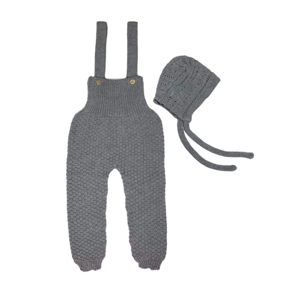 Nueces Nueces Gray Knit Romper  JellyBeanz Kids