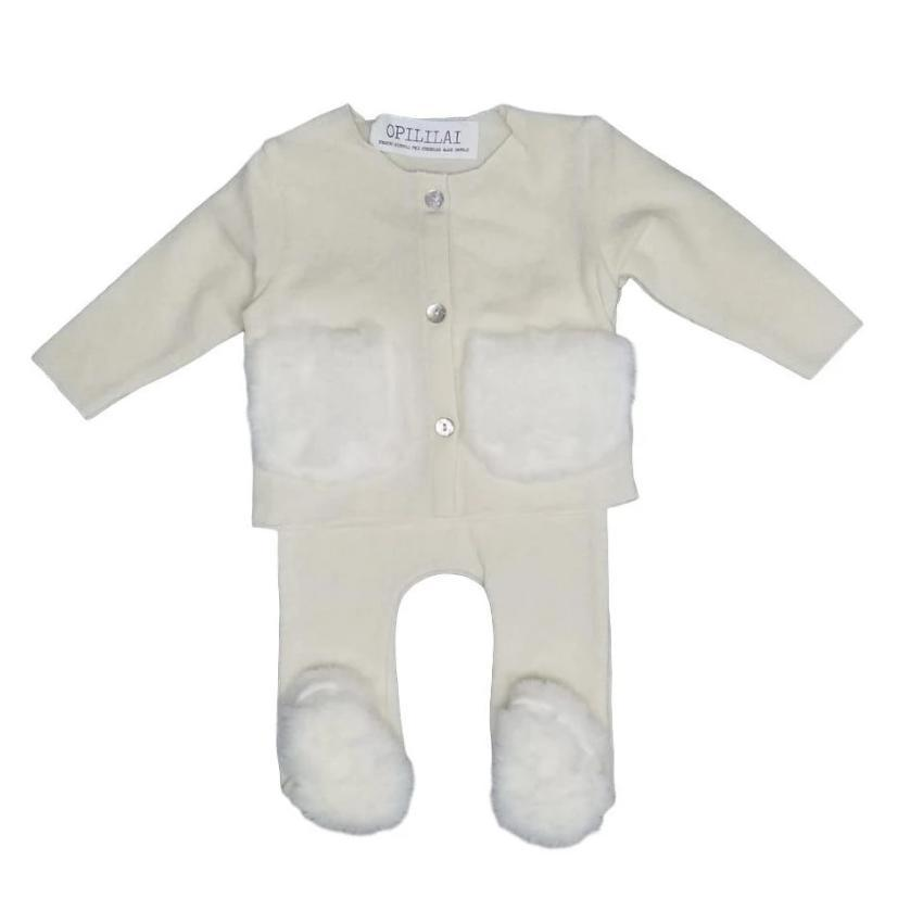 Opililai set Jellybeanzkids Opililai Cream Knit Fur Baby Set