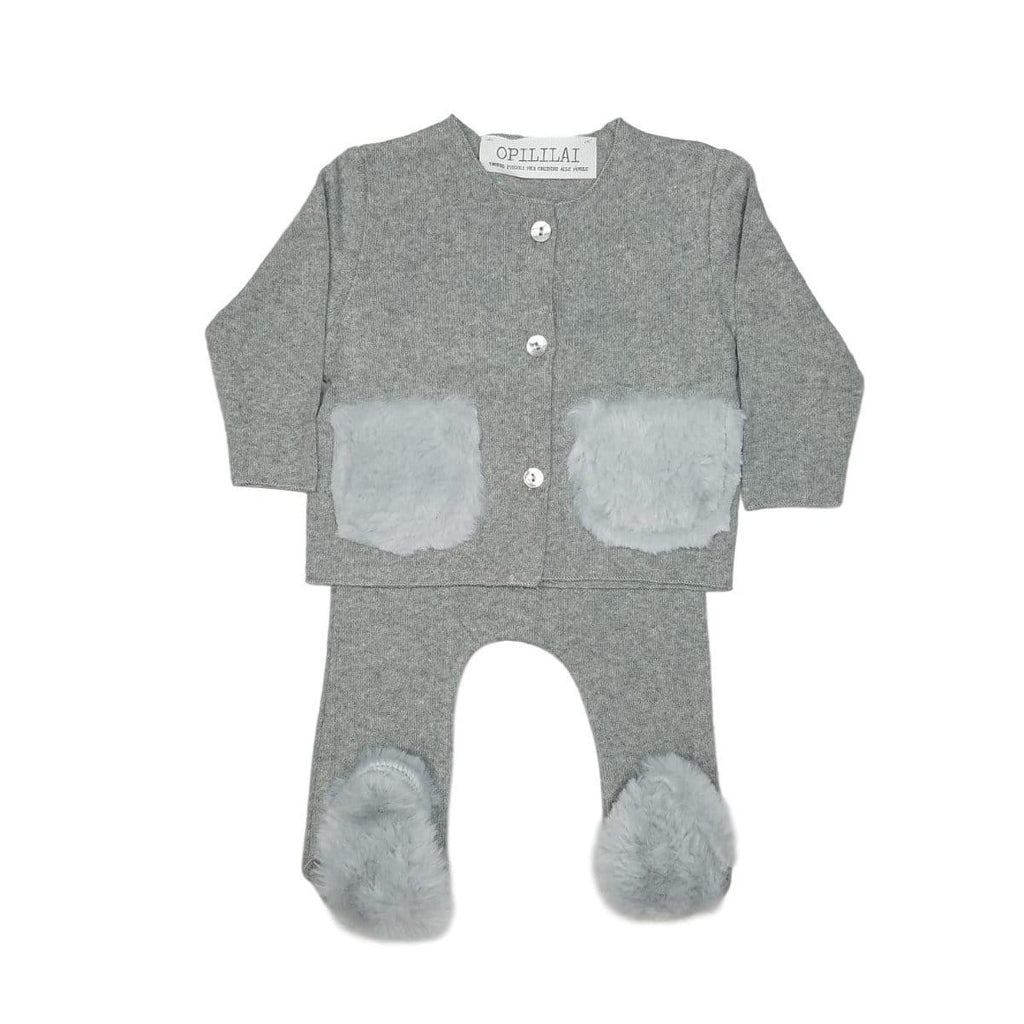 Opililai set Jellybeanzkids Opililai Grey Knit Fur Baby Set